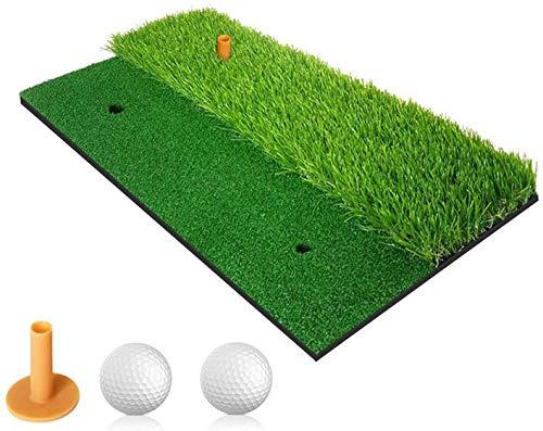 YINGJEE Golf Übungsmatte 2 in 1 Golf Schlagmatte für das Training im Innen- und Außenbereich Abschlagmatte mit Gummi Tee + 2 Golfbälle(30x60cm)