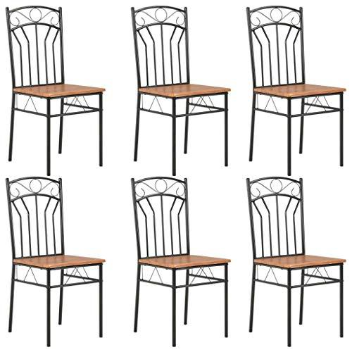 vidaXL 6X Sedie per Sala da Pranzo Robuste Stile Vintage Industriale Eleganti Lisce Arredi Seggiole Sala Cucina Telaio in Acciaio Marroni in MDF