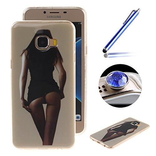 Etsue Case Pour Samsung Galaxy C7,Ultra-minces TPU Silicone Coque Pattern étui Pour Samsung Galaxy C7, Rim jante est Transparent Housse Mode Motif Cover pour Samsung Galaxy C7 + 1 x Bleu stylet + 1 x Bling poussière plug (couleurs aléatoires)-Fexy fille