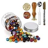MOPOIN Juego de sellos de cera, 180 perlas de lacre + 1 sello + 1 cuchara de fusión de cera, juego para sellado y decoración de cartas (color mezclado)