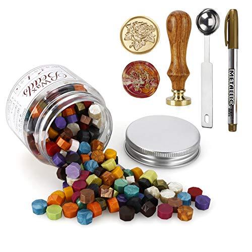 MOPOIN Wachsstempel Set, 180 Stck Siegelwachs Perlen Siegellack Perlen + 1 Stck Siegelstempel + 1 Stck Wachsschmelzlöffel, Siegelwachs Set für Versiegelung & Dekoration von Briefen (Gemischte Farbe)