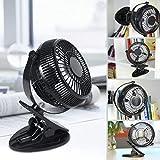 Weinas® Mini ventilateur USB de 5' 360degrés de rotation Réglable et portable pour Bureau/Lit/chambre Noir