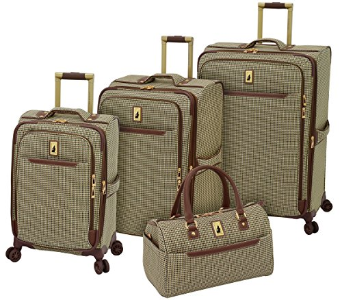 London Fog Cambridge II 4 Piece Set (Satchel, 20', 25', 29'), Olive Houndstooth