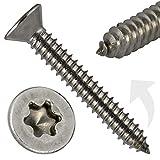 PROTECH - Tornillos de chapa avellanados con hexágono interior TX – DIN 7982 – ISO 14586 – 5,5 x 32 – Acero inoxidable A2 V2A tornillos de chapa con punta avellanada