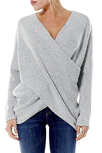 YOINS Damen Pullover Oberteile Strickpullover für Damen Herbst Winter Langarm V-Ausschnitt Batwing Cross Front (XXL, Aktualisierung-Hellgrau)