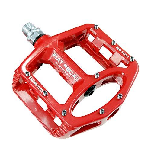 Zeroall 9/16 Zoll Fahrradpedale Mountainbike Rennrad Fahrrad Pedalen Magnesiumlegierung Platform Fahrradpedale mit voll abgedichteten Lagern für Citybike, Rennrad, E-Bike & MTB(Rot)