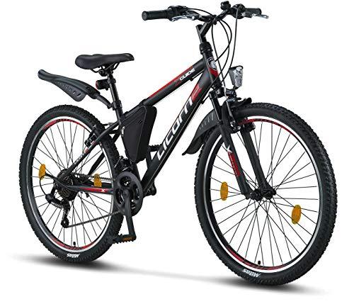 """Licorne Bike - Mountain bike 26"""" cambio a 21 marce, forcella ammortizzata, bicicletta per bambini, ragazzi, donne e uomini, con borsa per il telaio, Bambino Uomo, nero/rosso/grigio"""