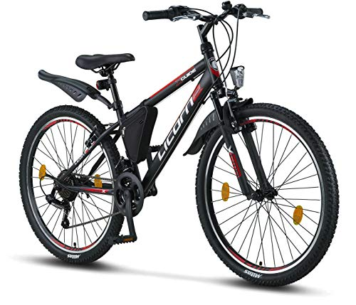 Licorne Guide Mountain Bike - 26 Inch - Shimano 21-Speed Gears, Fork Suspension - Children's Bicycle for Boys and Girls - Frame Bag, boys mens, Black/Red/Grey