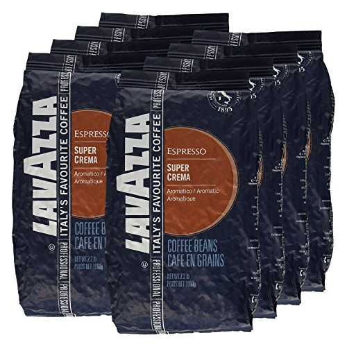 Lavazza Kaffee Espresso Super Crema, ganze Bohnen, Bohnenkaffee (8 x 1kg Packung)