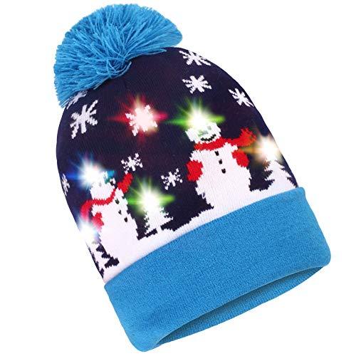 Preisvergleich Produktbild Pulchram: LED-Weihnachtsmütze mit Beleuchtung,  Strickmütze mit 6 bunte LED-Blinklichtern,  Unisex,  für den Winter geeignet,  mit 2 austauschbaren Batterien Gr. Einheitsgröße,  blau