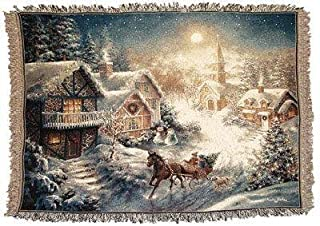 Simply Home One Horse Open Sleigh Tapestry Throw Blanket