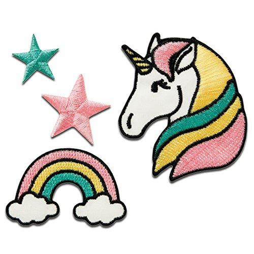 Parches - Set unicornio estrella arco iris - colorido - diferentes tamaños - termoadhesivos bordados aplique para ropa