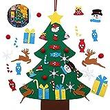 ASANMU Albero di Natale in Feltro per Bambini, DIY Albero Natale Feltro Decorazione Murale per Albero di Natale da 95 cm, Regali di Natale per Bambini Natale Feltro Decorazione per Porte/Parete