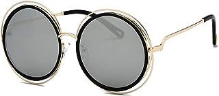 86e47622c6 FUBULECY Elegante Marco de Metal Gafas de Sol Redondas Grandes para Mujeres  Hombres Protección UV Lente