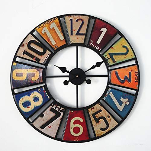 ZC Digitale Runde Retro Wanduhr Kreative Nummernschild Wanduhr Aufkleber Eisen Dekorative Uhr Schlafzimmer Wohnzimmer Wanduhr
