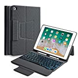 Keyboard Case Compatible with iPad 2017(5th Gen)/2018 New iPad(6th Gen)/Air/Air2/iPad Pro 9.7-360°Rotating Back Cover-Aluminum BT/Wireless Keyboard,7 Colors Backlit(Only Compatible 9.7' iPad)