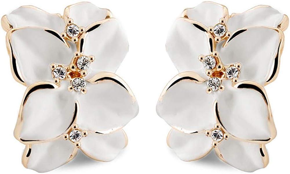 Flower Austrian Crystal Stud Clip On Earrings For Women Girls - White
