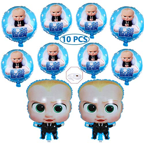 OPATER 10 Pcs Baby Boss Balloons Birthday Party Supplies Decorations 18 Inch Large Boss Day Foil Balloons for Boss Baby Theme Shower Birthday Party Decorations