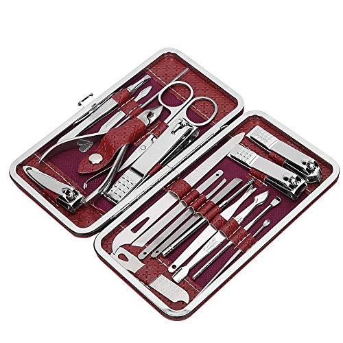 Conjunto de ferramentas para manicure Kit de pedicure para tosquiadeiras, Kits de manicure para pedicure de 19 peças Kit de cortador de unhas em aço(Wine red 19 piece set)