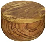Naturally Med Olive Wood Salt Keeper/Pot/Salt Box with Magnetic Pivoting Lid