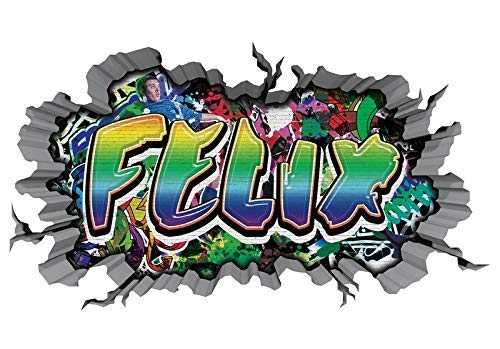 3D Wandtattoo Graffiti Wand Aufkleber Name FELIX Wanddurchbruch sticker selbstklebend Wandbild Wandsticker Jungenddeko Kinderzimmer 11U033, Wandbild Größe F:ca. 97cmx57cm