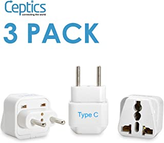 Ceptics Europe Travel Plug Adapter (Type C) - 3 Pack [Grounded & Universal]