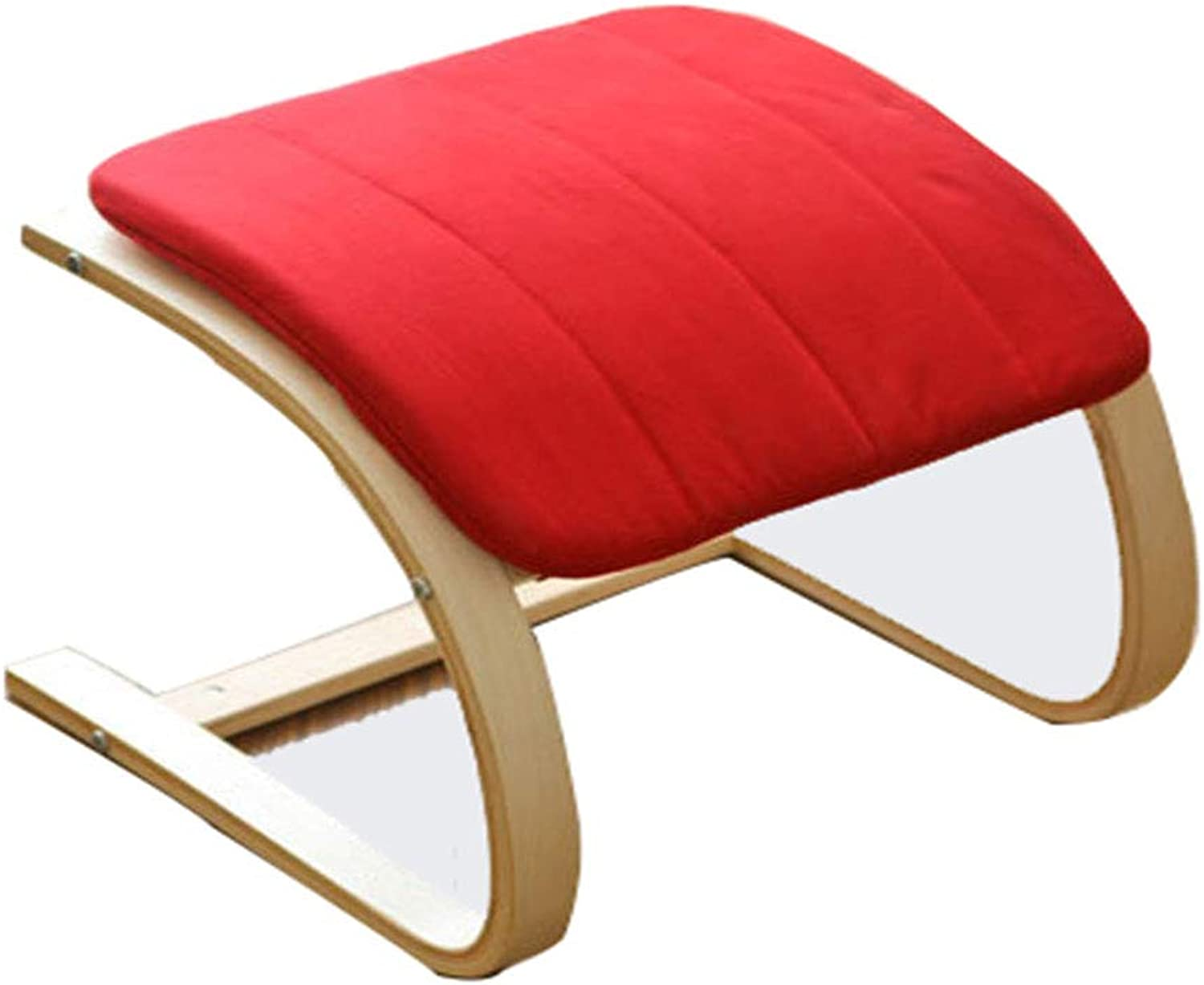 Solid Wood Footstool Curved Wooden Curved Footrest Low Stools Placed Foot Stools,Red