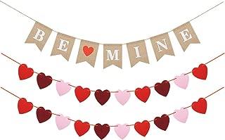Valentines Day Banner Decor, Felt Heart Garland Banner & Be Mine Jute Burlap Banner, Valentines Decorations Anniversary Wedding Birthday Party Photo Props Decoration