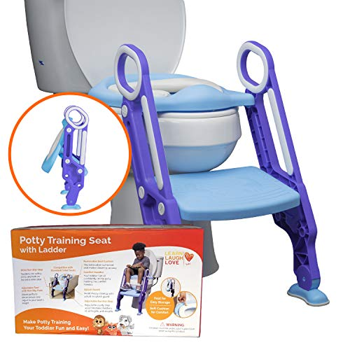 Potty Training Seat with Ladder - Potty Step Stool for Toddlers Fits Most Toilets, Folds for Storage. Potty Ladder is Durable and Safe - Wide Step, Non-Slip Pads, Comfort Handles and Removable Cushion