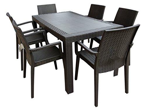 Dimaplast2000 Set Garden Top Tavolo e 6 Poltrone in Resina Effetto Rattan da Giardino, Antracite, 140x80x72 cm