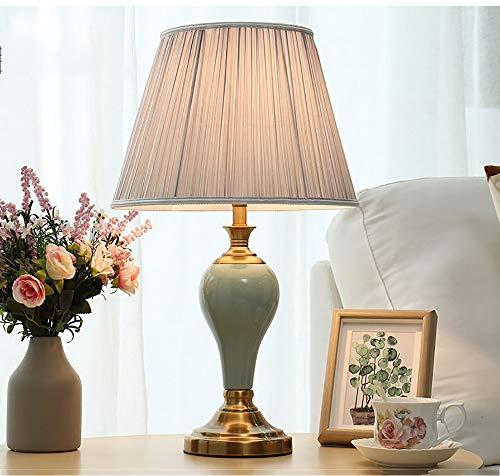 Nachtkastlamp zilverkleurige lampenkap en keramische lantaarnpaal, geschikt voor woonkamer, familie, slaapkamer, nachtkastje Frame-360 verlichting