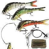3 Señuelos de Pesca 27g + 9 Líderes Alambre Pesca Cebos de Pescar Articulados Artificiales...