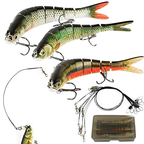3pcs Señuelos de Pesca 27g 8 Segmentos + 9 Líderes Alambre Pesca 15.5cm 20cm 25cm Cebos de Pesca para Mar Lubina Black Bass Barracuda Pez Grande Regalo para Hombre