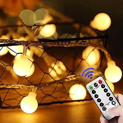 Lamantt - Stringa di luci a LED, luce bianca calda, 6 m, 50 LED, con 8 modalità di illuminazione, per interni, esterni, feste, soggiorno, camera da letto, giardino