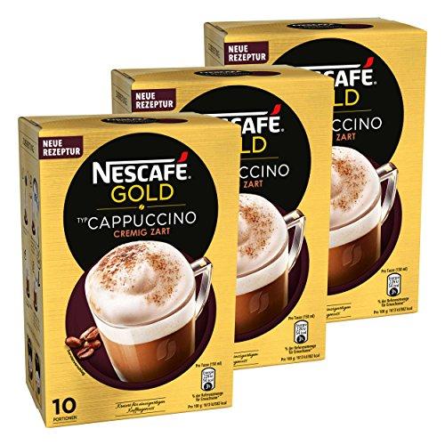 Nescafé Gold Typ Cappuccino, Cremig Zart, Löslicher Bohnenkaffee, Instantkaffee, Kaffee, 3 x 10 Portionen, 12321032