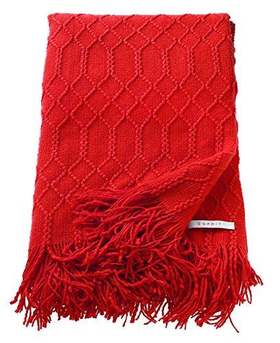 ESPRIT Weave Plaid Decke Tagesdecke Kuscheldecke Wolldecke Couchdecke Sofadecke, Polyacryl, Rot, 200 x 140 cm