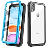 Justcool Designed for iPhone XR Case, Clear Full Body Heavy Duty Protection with Built-in Screen Protector Shockproof Rugged Cover Designed for iPhone XR Cases (2018) 6.1 Inch (Blue/Clear)