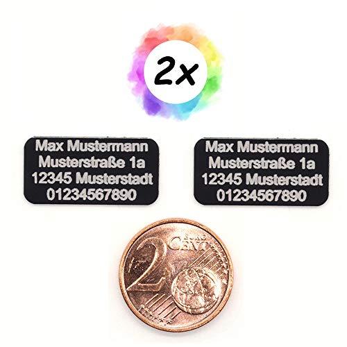 2er Set Drohnen Plakette 20x10 mm klein - Micro - in schwarz - selbstklebend | Kennzeichen, Kennzeichnung, Schild, Etikett, Adressschilder