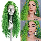 RDY Green Long Curly Synthetic Lace Front Wigs for Women with Free Part 13x2.5 Pre Plucked Loose Curly Wig Heat Friendly Fiber Replacement Hair Wigs(150% Density,24Inch)