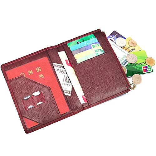 パスポートケース 牛革 出張用 パスポートホルダー スキミング防止 パスポートカバー 海外旅行 高級本革 カードケース 多機能収納 大容量 パスポートポーチ (レッド)