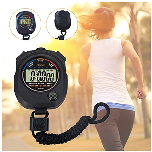 Fine Multi-Function Electronic Digital Sport Stopwatch Timer, Large Display,Great for Sports Coaches Fitness Coaches and Referees, (Black)