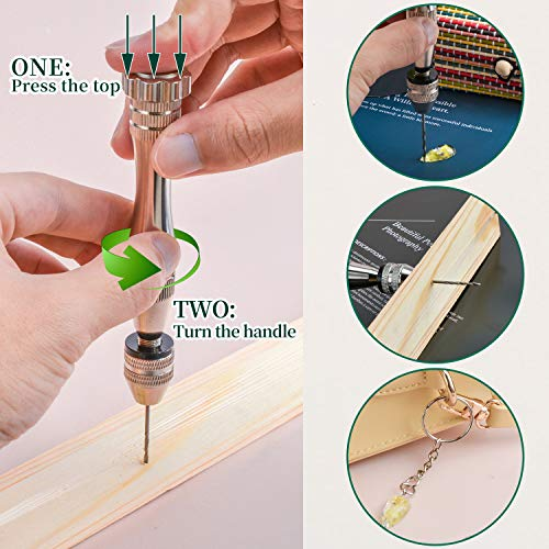 Pin Vise Hand Drill for Resin Casting Molds, Precision Drill with 24 Pieces Twist Drill Bits and 100 Pieces Eye Screw Pins for Resin Plastic Wood Keychain Pendant Jewelry Making