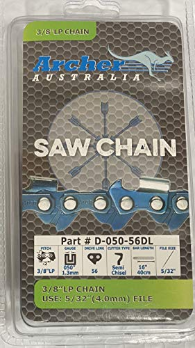 Archer 16' Chainsaw Saw Chain Blade Compatible with Greenworks PRO 60V and Ryobi RY3716 Wen 4017 40417 3/8' LP .050 Gauge 56DL S56