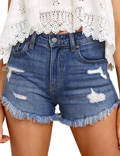 Roskiky Damen Stretch Taschen Jeans Shorts Lässige Jeans-Shorts mit geripptem, rohem Saum, L, A-tiefes Blau