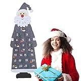 Gxhong Calendario Dell'Avvento Babbo Natale, Calendario dell'avvento in Feltro con 24 Tasche da riempire, Calendario per Conto alla rovescia di Natale Decorativo Accessori per Feste- Grigio