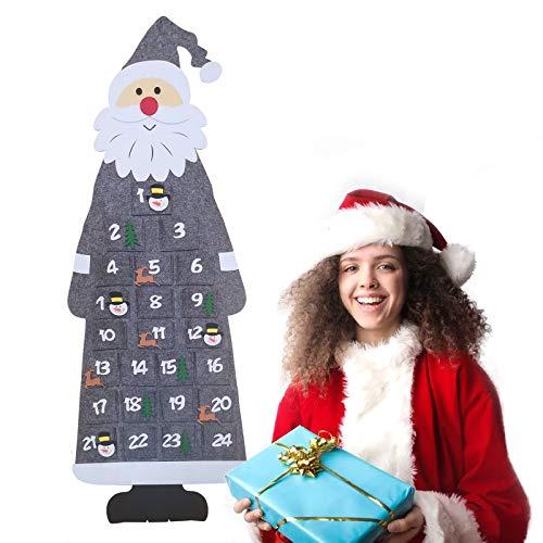 Gxhong Calendario de Adviento de Papá Noel, Calendario de Cuenta Regresiva Colgar en la Pared con 24 Bolsillos, Calendario de Adviento de Fieltro Navideño Decoración de la Oficina en Casa- Gris