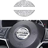Bling Bling Car Steering Wheel Decorative Diamond Crystal Decal Decoration Cover Sticker Compatible with Nissan,DIY Bling Car Steering Wheel Emblem Accessories for Nissan maxima altima sentra