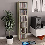 Festnight Estante para CDs Soporte para DVDs de Aglomerado Roble Sonoma 21X16X88 Cm Estantería de Libros Estantería Librería, Estante Separador de Espacios para Salón, Dormitorio, Estudio