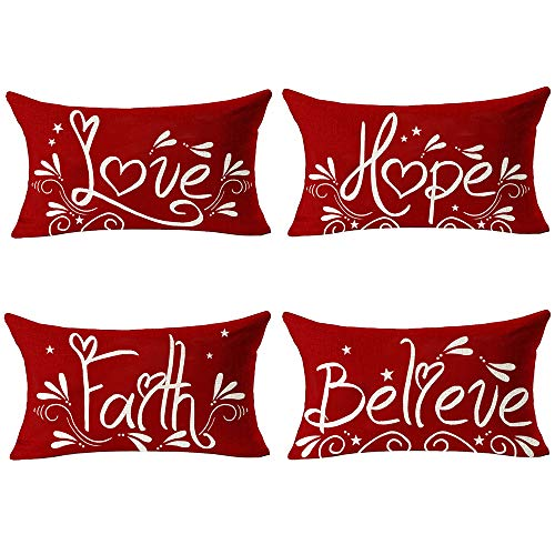 Andreannie Pack of 4 Happy Winter Faith Hope Love Believe Red Merry Cotton Linen Lumbar Throw Pillow Case Cushion Cover New Home Office Decorative Rectangle 12x20 Inches