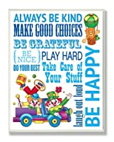 The Kids Room by Stupell Green Be Happy Clown Typography Rectangle Wall Plaque by The Kids Room by Stupell